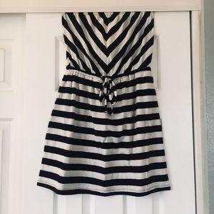 Summery strapless striped dress!